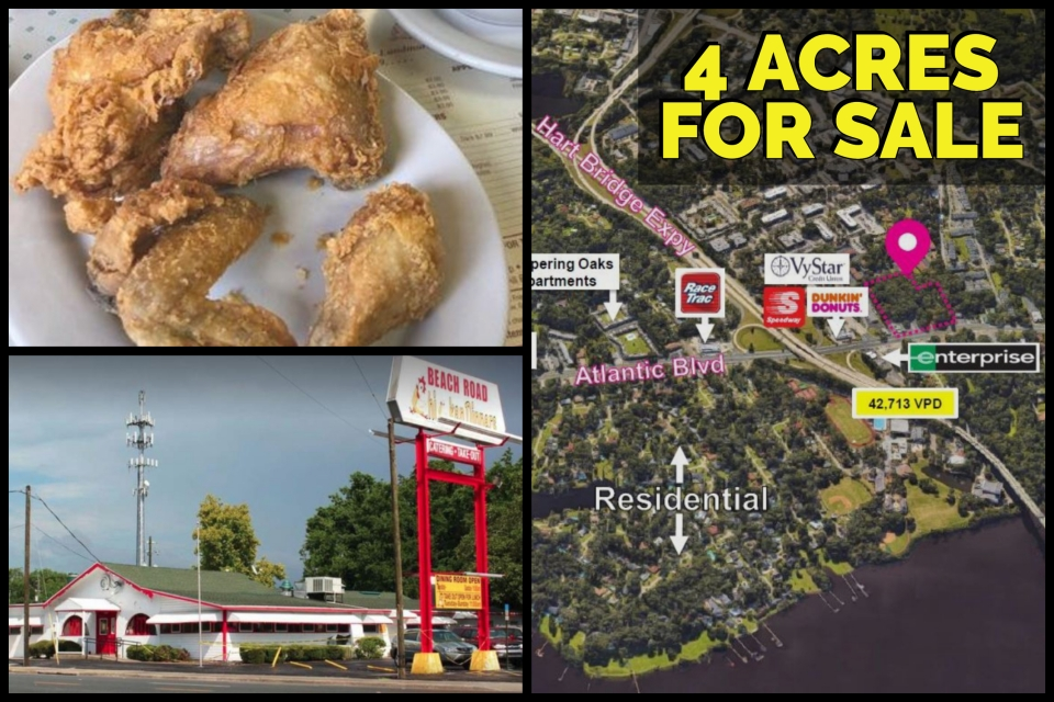 4 Acres & Restaurant Building For Sale